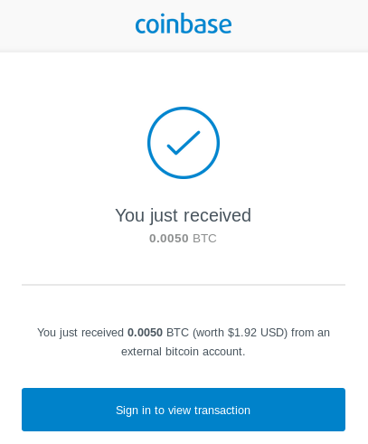 Coinbase transaction notification email